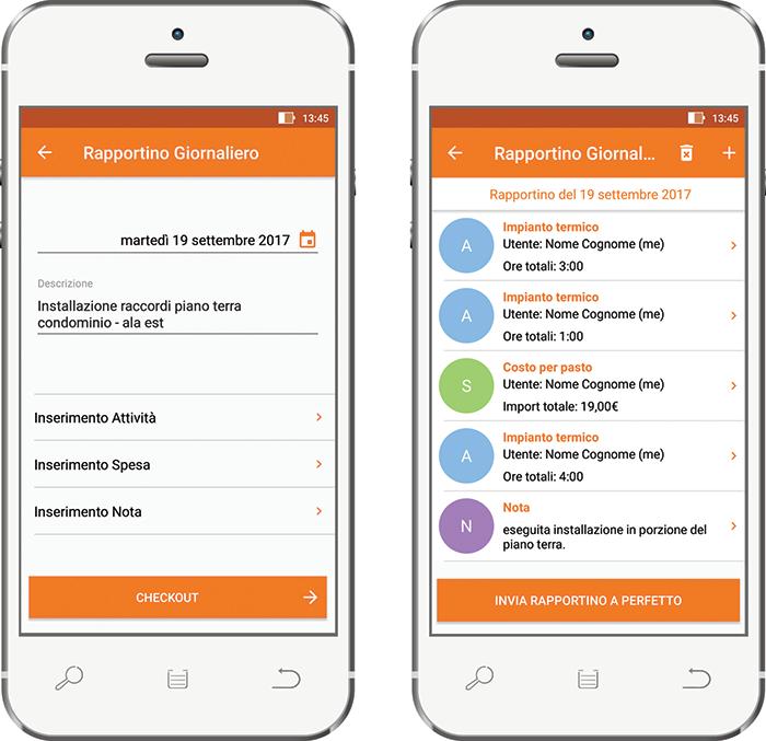 Perfetto app: inserimento rapportino di lavoro da cantiere