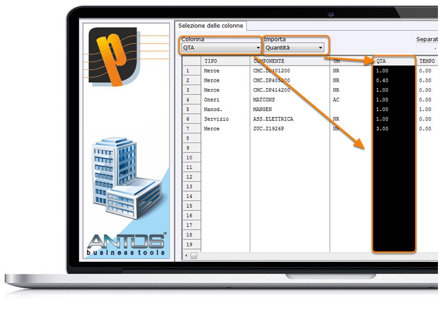 Perfetto: procedura di importazione preventivi da Excel - associazione delle colonne al tipo componente