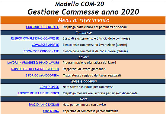 gestione delle commesse con excel