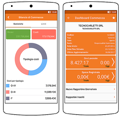 software gestione commesse: bilancio di commessa via app
