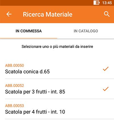 Perfetto app: inserimento materiale