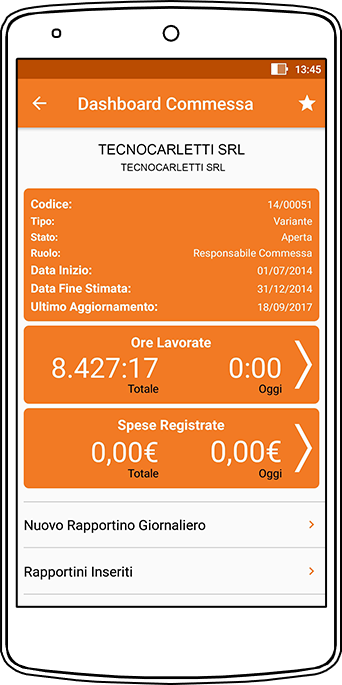 Perfetto app: la dashboard della commessa