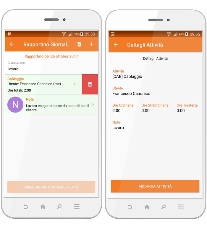 Perfetto app: la modifica di un rapportino di lavoro. Elimini una nota o modifichi una attività registrata